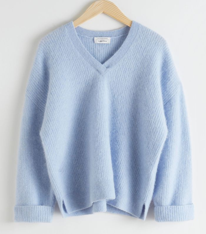 & Other Stories.com Oversized V-Neck Ribbed Sweater