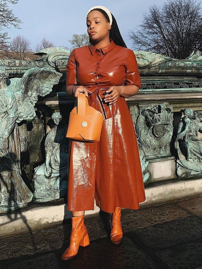 asos leather shirt dress: ada oguntodu