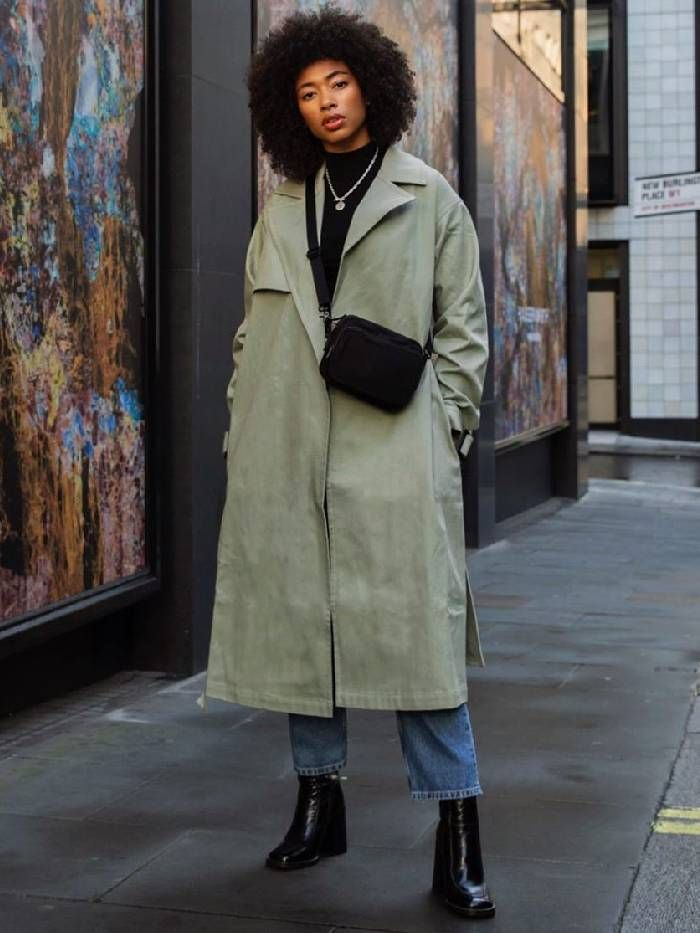 sage green trend: asos lesley wearing a sage green coat