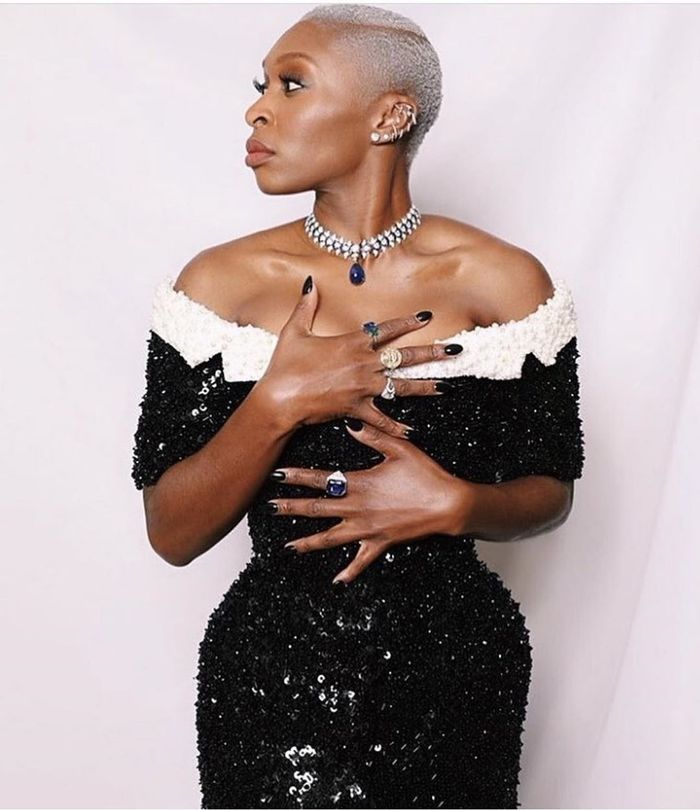 Cynthia Erivo Style: For the 2020 Golden Globes, Cynthia wore a custom monochrome sequin dress by Thom Browne