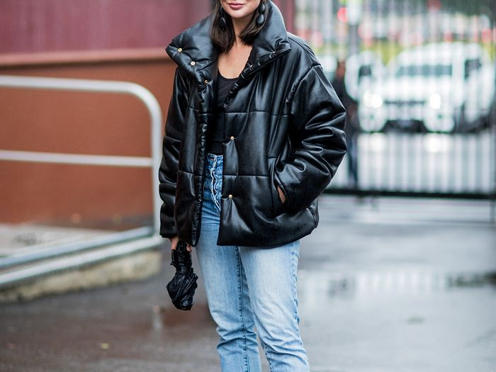Leather Puffer Street Style