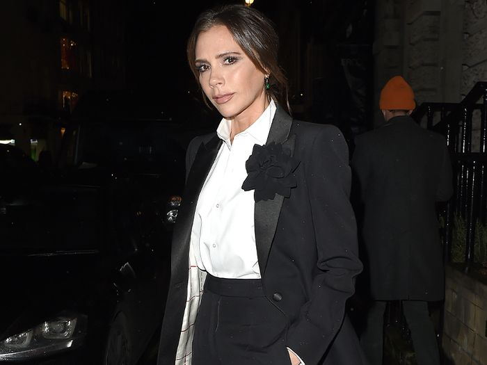Victoria Beckham Just Wore the Coolest White Shirt–and–Black Trousers Pairing
