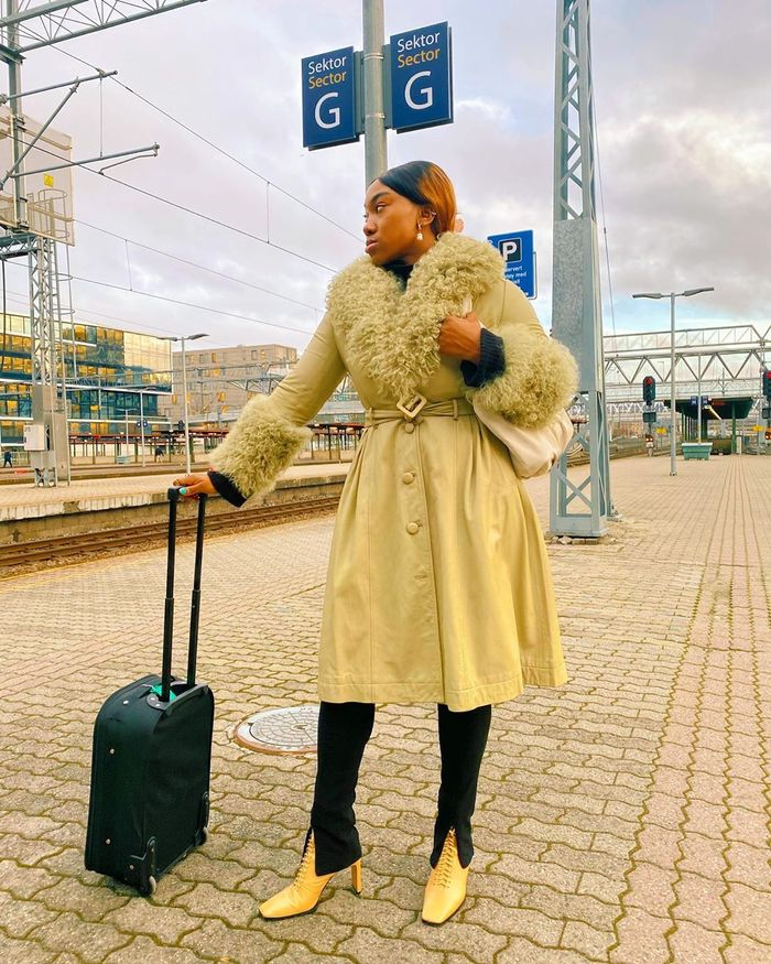Best Coloured Leather Pieces: @nnennaechem wears a bright yellow coat