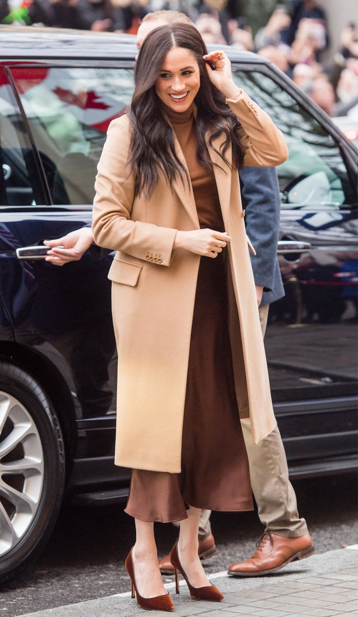 Meghan Markle brown and camel outfit