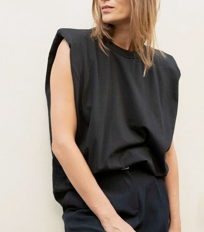 The Frankie Shop Padded Shoulder Muscle T-Shirt in Black