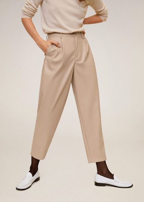 Mango Relaxed Fit Faux-Leather Pants