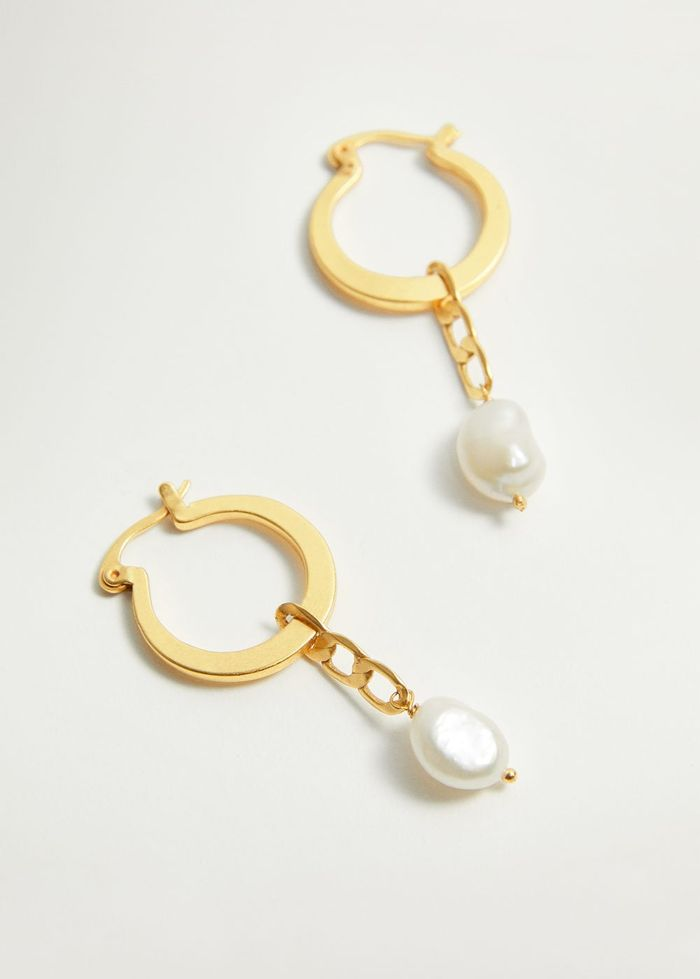 Mango Pearl-Bead Hoop Earrings