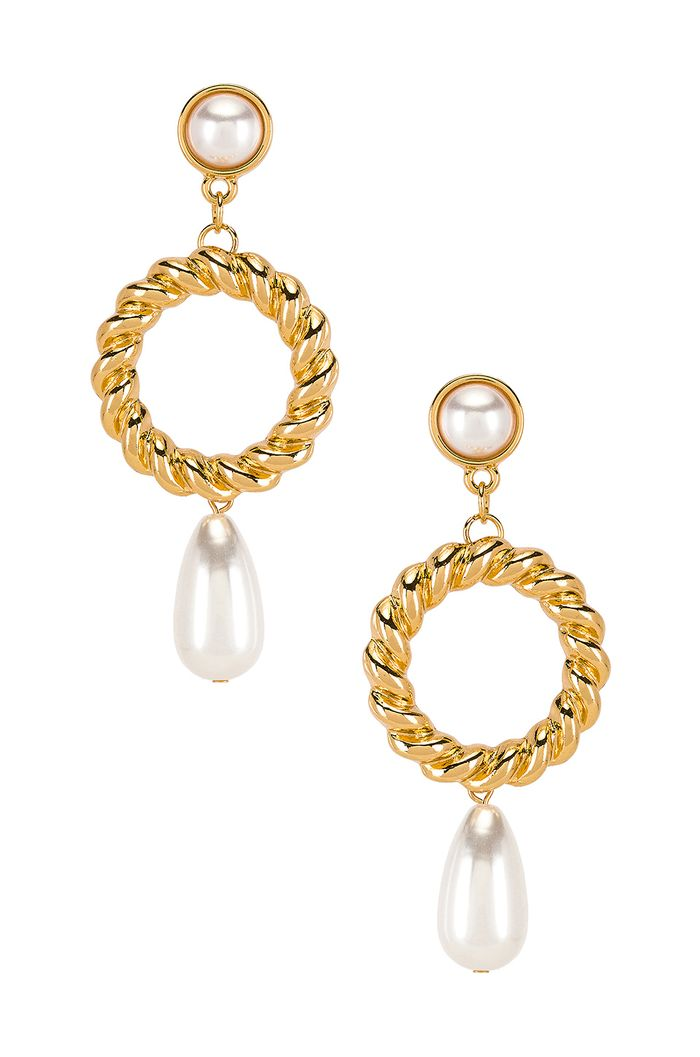 Ettika Drop Pearl Earrings