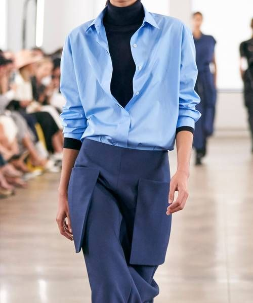 blue oxford shirt: the row runway spring/summer 2020