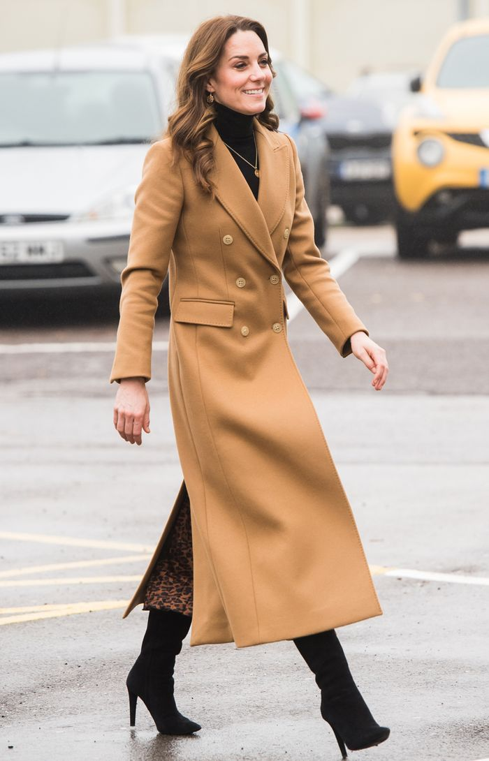 Kate Middleton camel coat and Zara leopard print skirt: