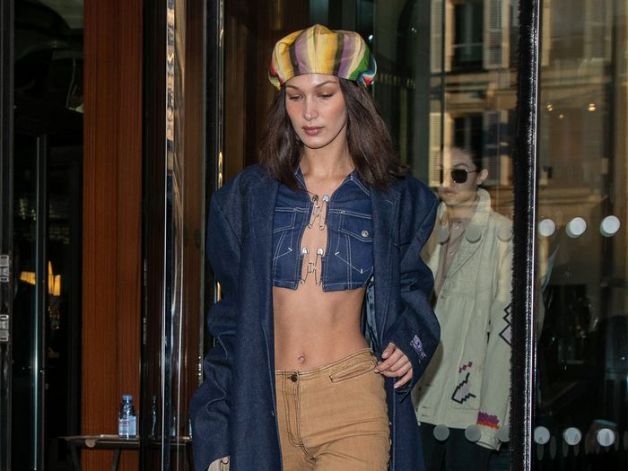 Bella Hadid Wore This Jeans-and-Boots Combo With the Most Shocking Top