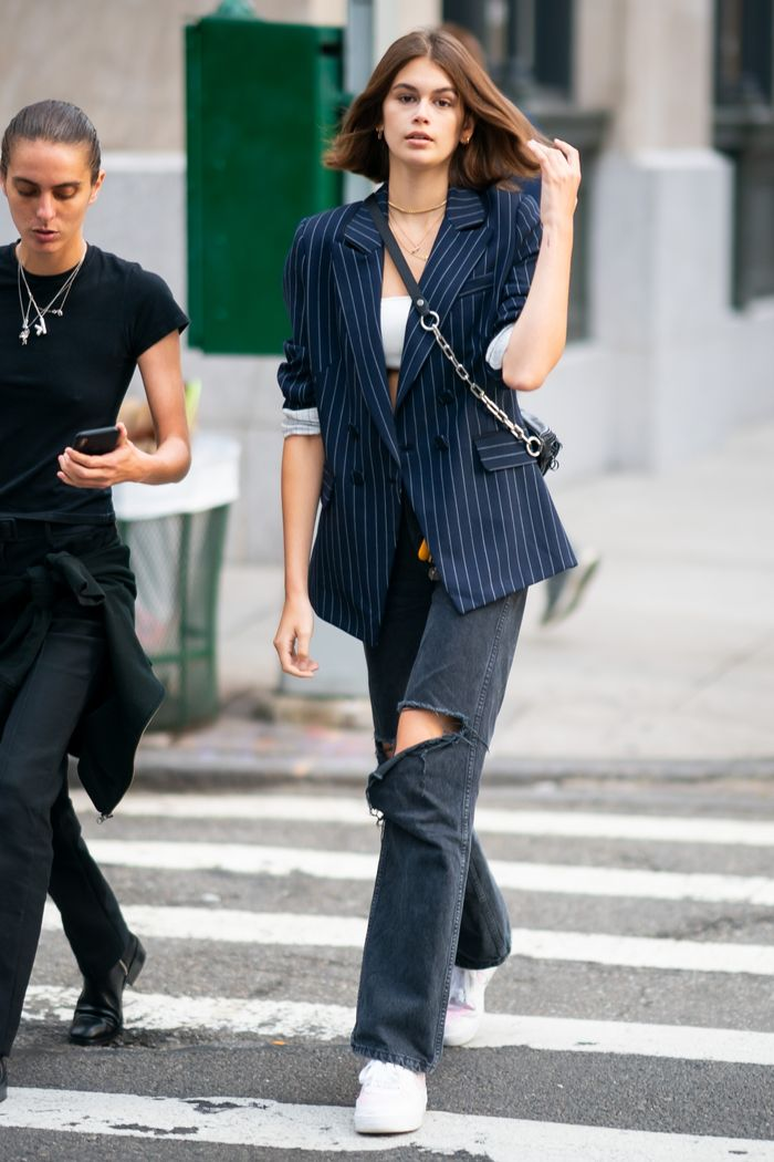 Kaia Gerber Shows Us How To Style Pinstripe Blazers