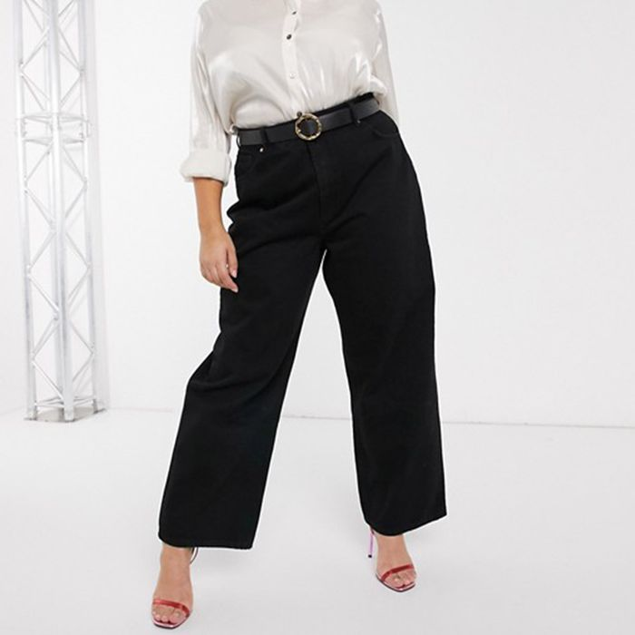 ASOS Design High Rise Relaxed Dad Jeans in Washed Black