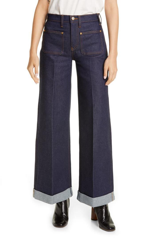 Khaite The Ray Roll Cuff Wide Leg Jeans