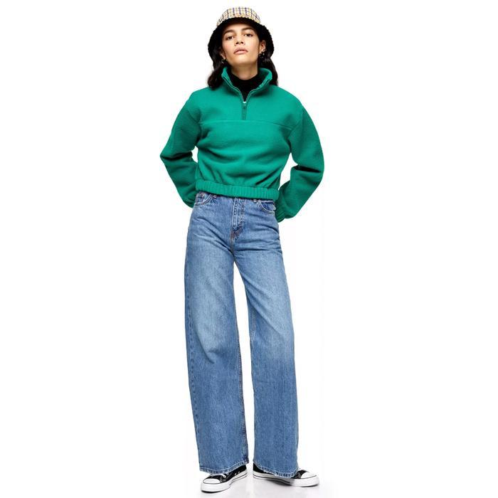Topshop Mid Blue Wide Leg Jeans