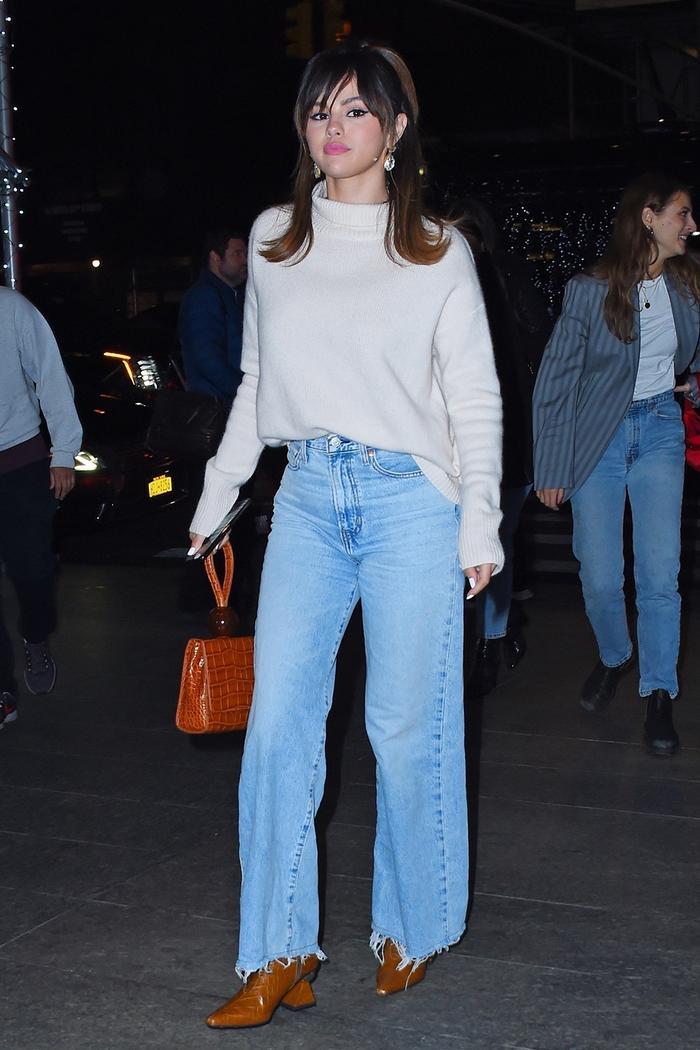 Selena Gomez wide-leg jeans outfit