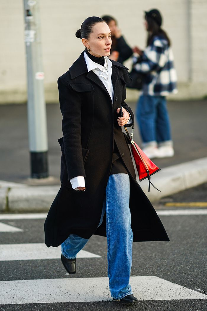 wide-leg jeans on the street