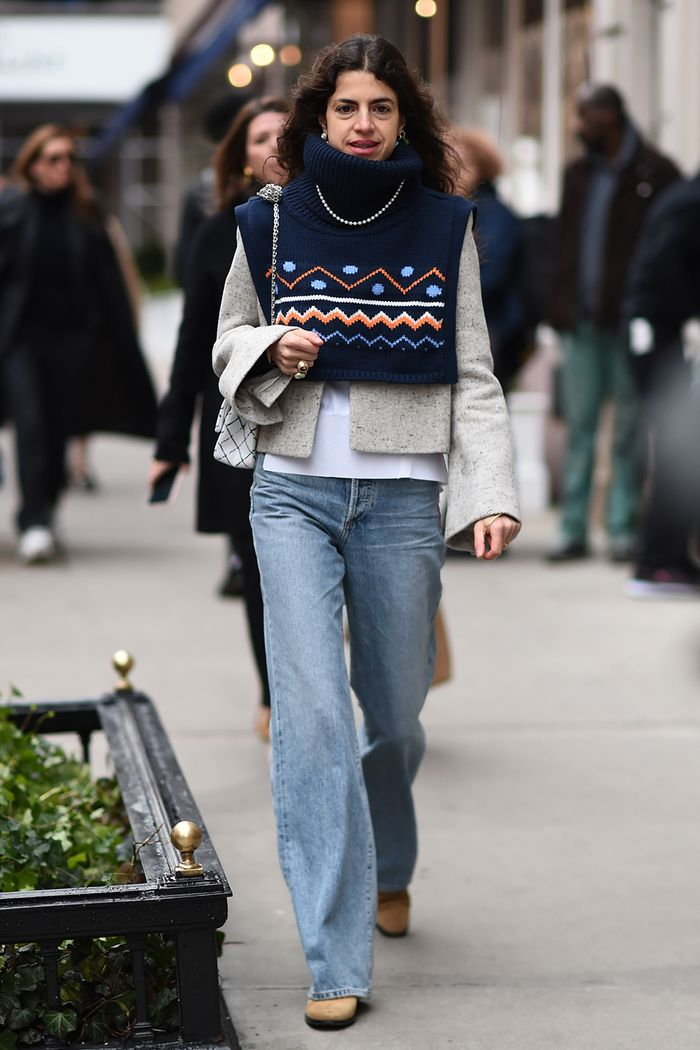 street style with wide-leg jeans