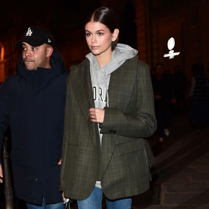 Kaia Gerber Is Wearing Spring's Brightest New Denim Trend All Over Paris