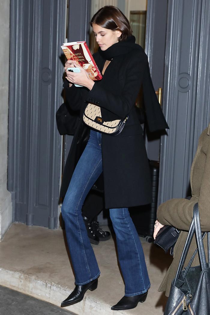 Kaia Gerber flared jeans