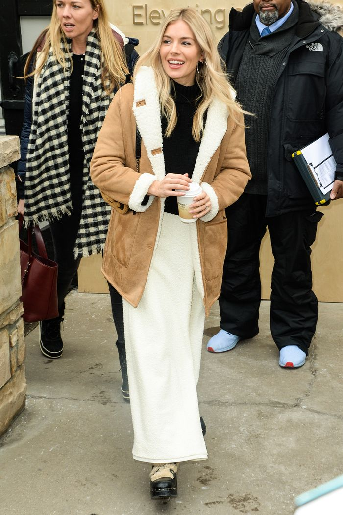 Sienna Miller: Mango Shearling Coats and Chanel Boots