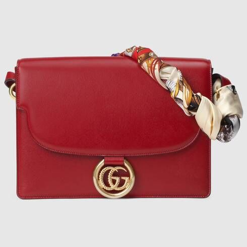 Gucci Medium leather shoulder bag with scarf