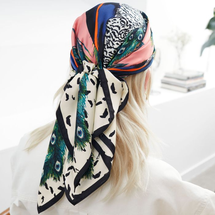 & Other Stories Peacock Graphic Printed Scarf