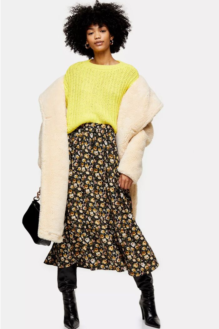 Topshop Outfit Ideas: Teddy Coat + Midi Skirt