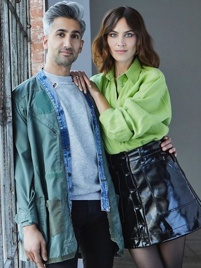 Alexa Chung Outfits: Patent Mini Skirt + Green Shirt