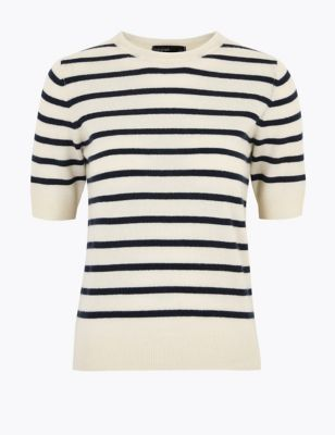 Autograph Pure Cashmere Striped Knitted Top