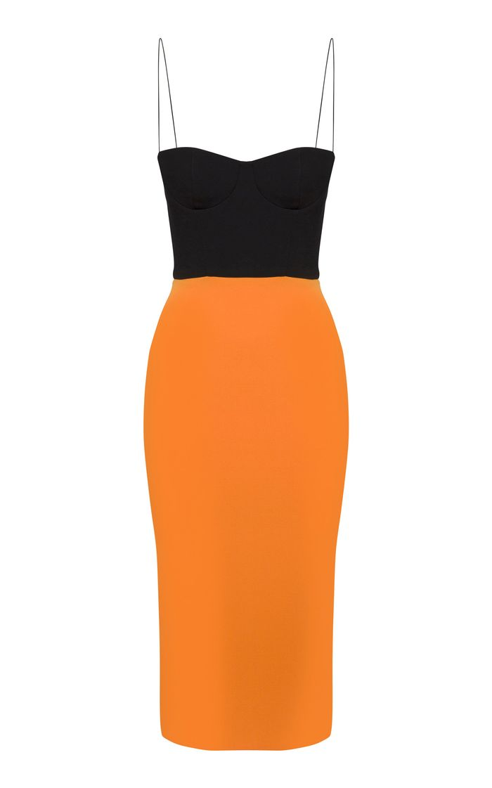 Alex Perry Lee Two-Tone Crepe Midi Dress