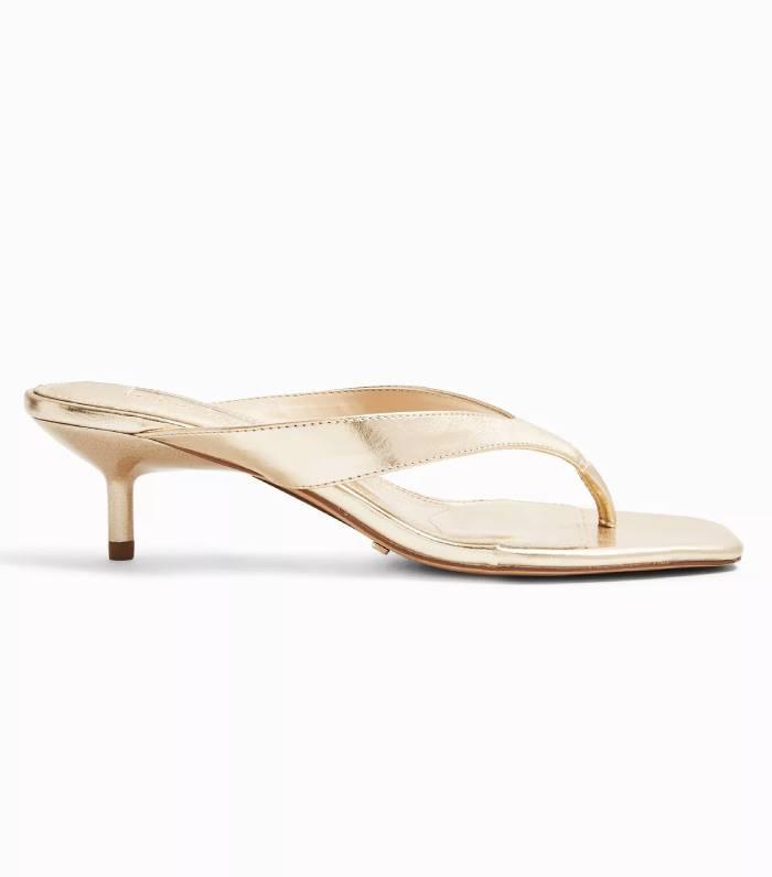 Topshop Nina Ecru Mini Heel Mules