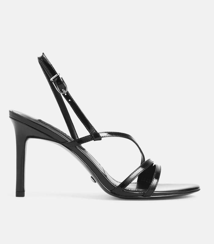 Charles & Keith Black Patent Leather Strappy Heeled Sandals