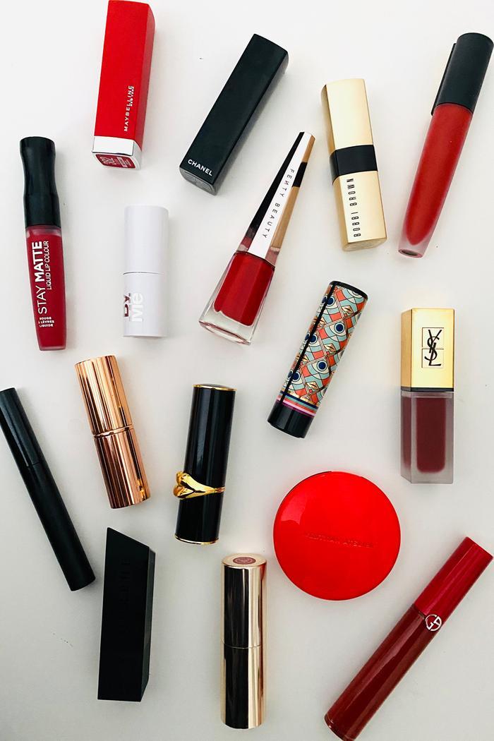 Best Red Lipsticks For Dark Skin: Red lipstick flatlay