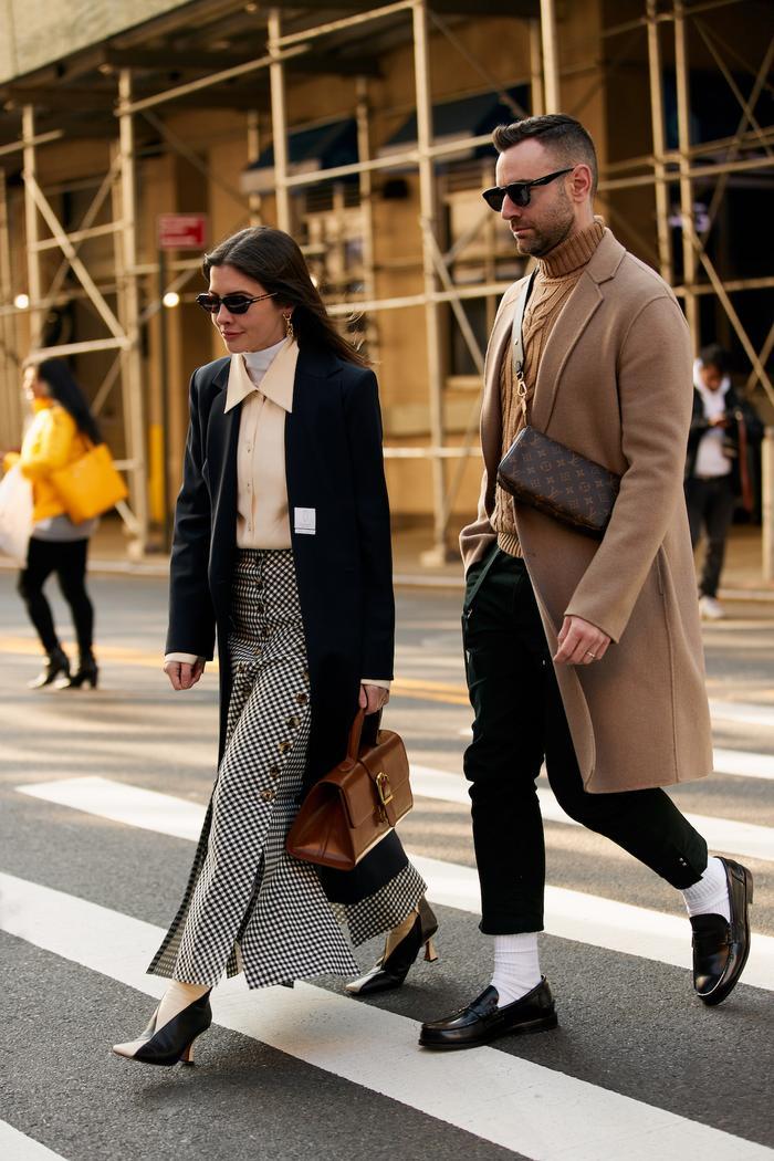 Kat Collings NYFW Street Style Gingham Midi Skirt Blazer