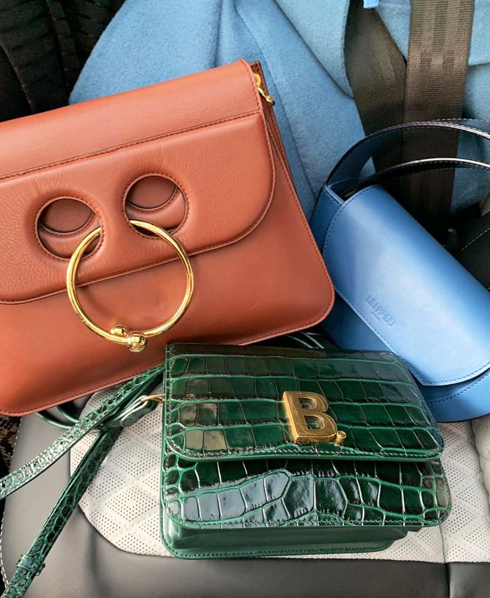 London Fashion Week outfits: designer handbags close up