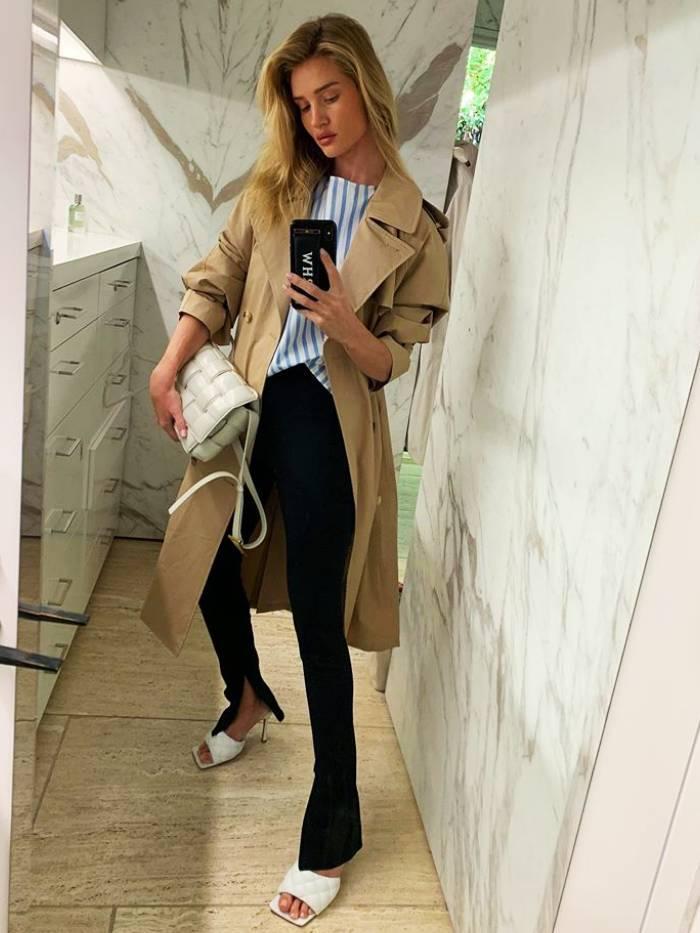 Split-Hem Trousers: Rosie Huntington-Whiteley