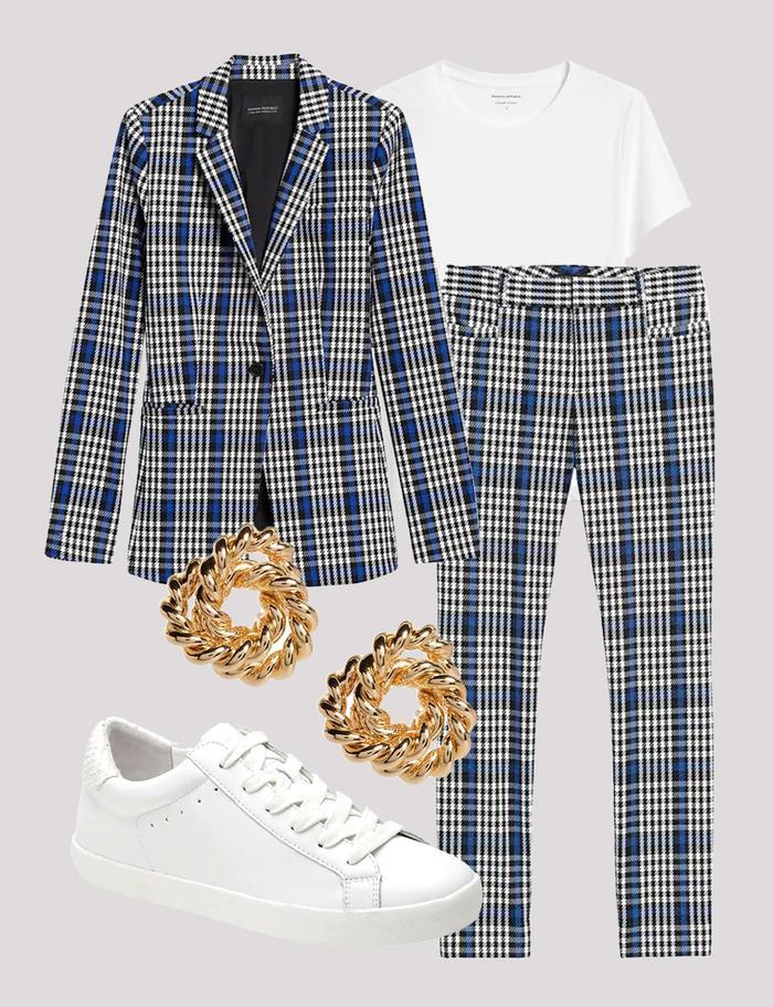 plaid suit set
