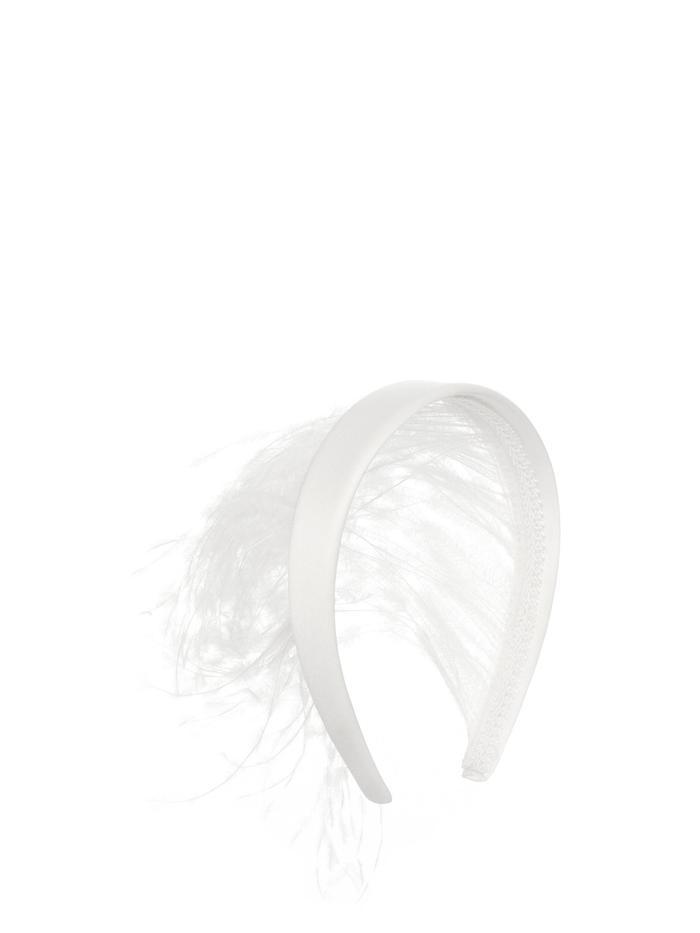 Christopher Kane Feather-Trimmed Satin Headband