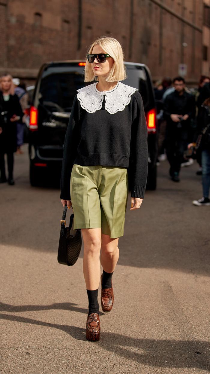 Milan Fashion Week Street Style Trends 2020: Trouser Shorts