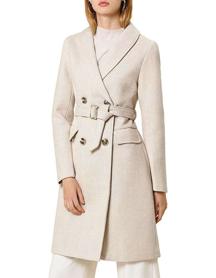 Allegra K Double Breasted Shawl Collar Chevron Belted Coat