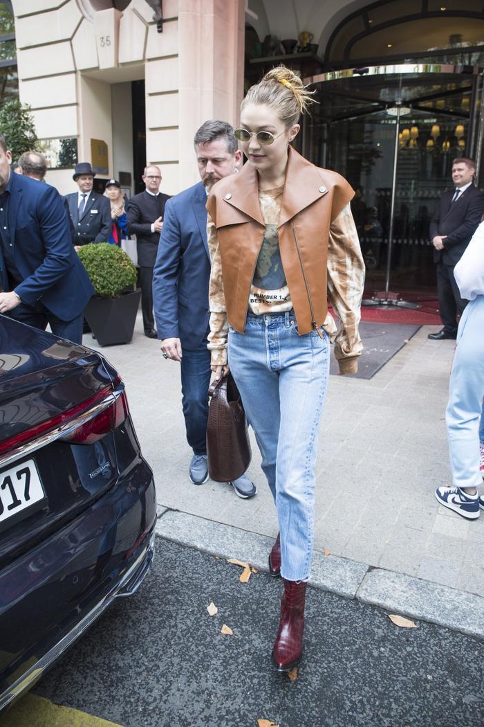 GIgi Hadid Street Style Tie Dye Sweatshirt and Jeans