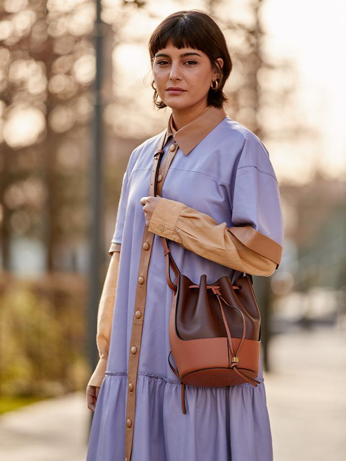 Fashion Week Street Style: Loewe Balloon Bag