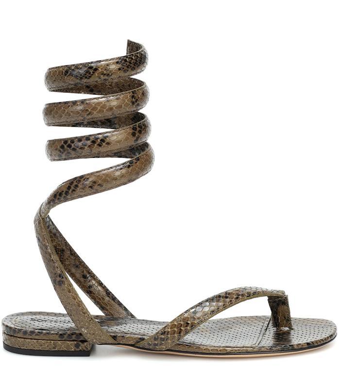 Bottega Veneta BV Spiral Snake-Effect Leather Sandals