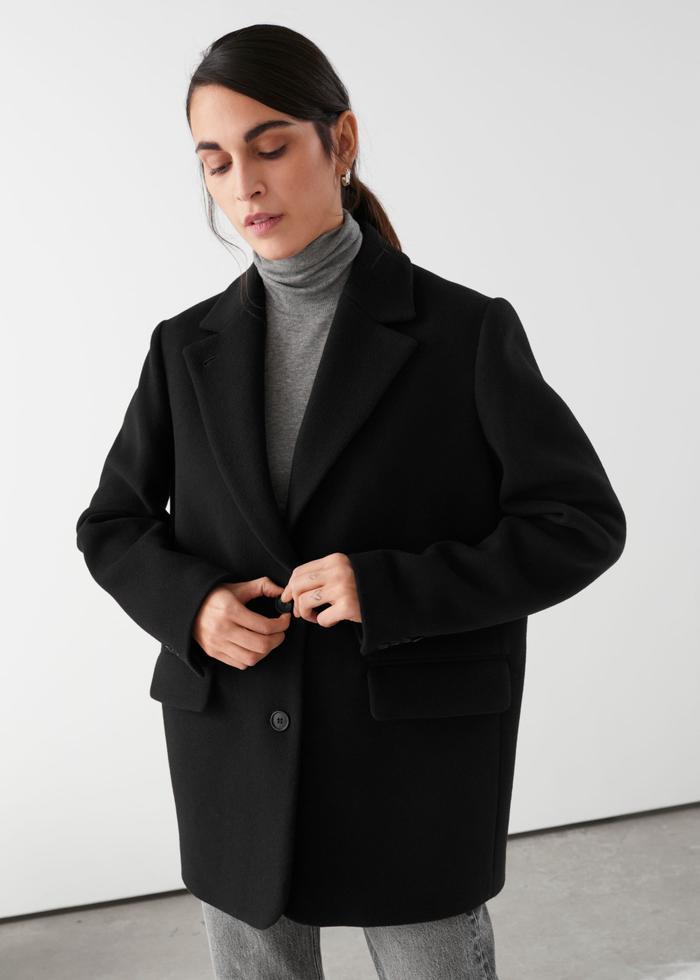 & Other Stories Wool Blend Oversized Blazer