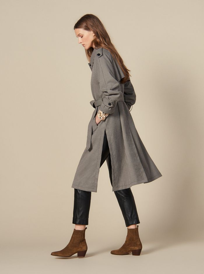 Sandro Trench Coat With Side Slits
