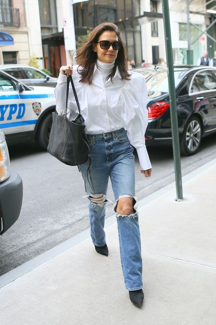 Katie Holmes wearing ripped denim
