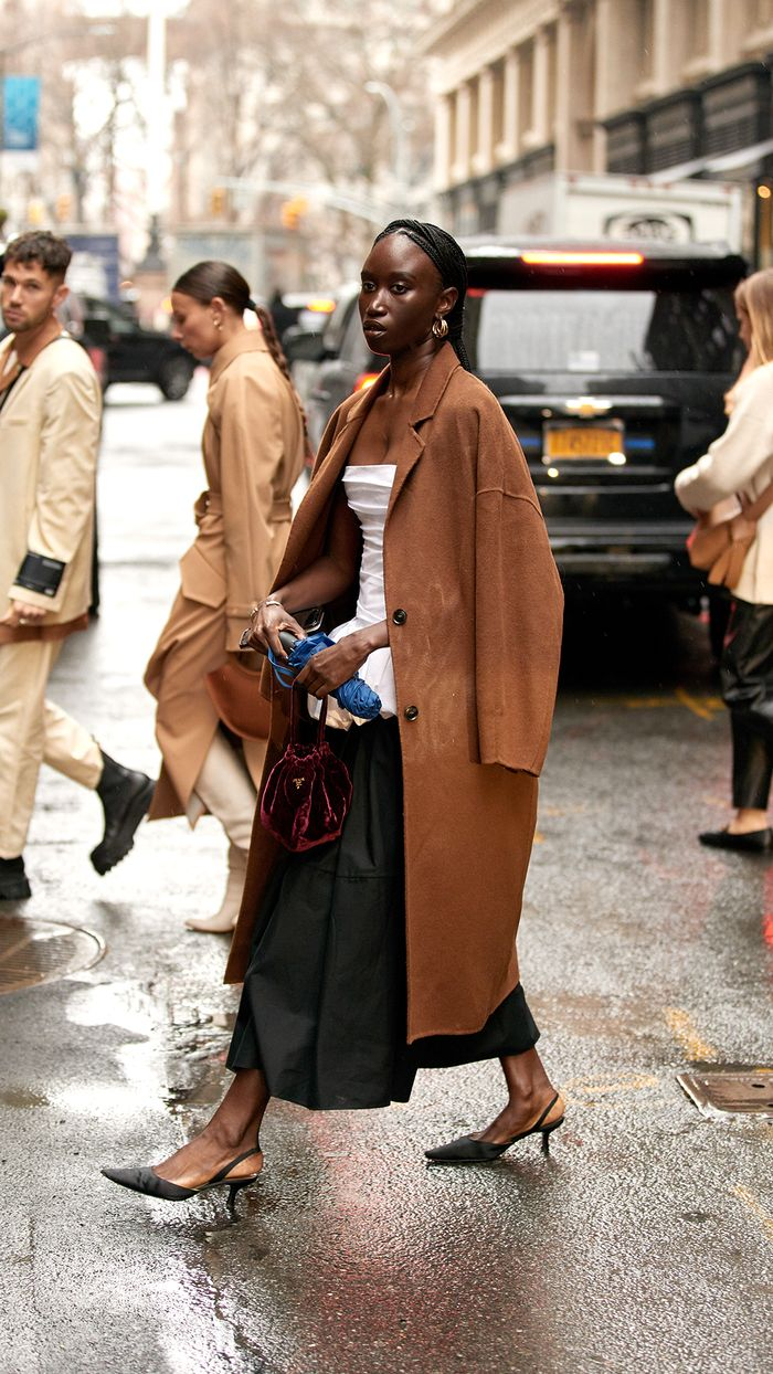 Sustainable Highlights from This Fashion Month: Amy Sall wears a vintage Prada bag and Khaite Dress