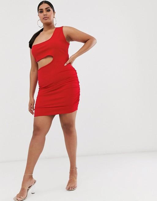 Fashionkilla One Shoulder Cutout Ruched Mini Dress