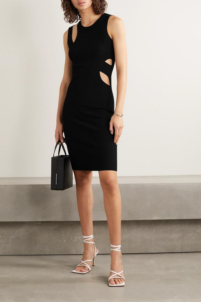Helmut Lang Cutout Ribbed-Knit Mini Dress